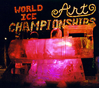 World Ice Art Championships entrance sign. Photo by Linda Heck.